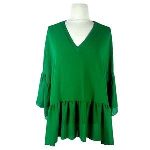 ZARA ruffle peplum blouse | S